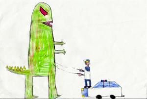 Disegno poliziotto dinosauro-FB